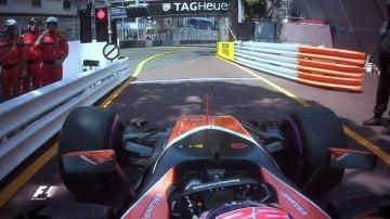 Button, antes de tomar la salida en el GP de Mónaco