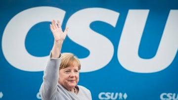 Angela Merkel durante un acto electoral en en el sur de Alemania