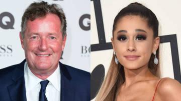 El presentador Piers Morgan y la cantante Ariana Grande