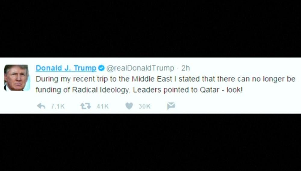 Frame 3.767698 de: Trump dice que en su gira por Oriente Medio acusaron a Catar de apoyar a radicales