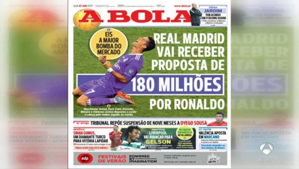 Frame 35.383333 de: Varios clubes están dispuestos a pagar 180 millones de euros por Cristiano Ronaldo