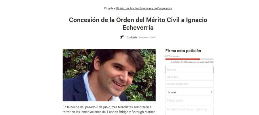 Recogen firmas para para que el Gobierno conceda a Ignacio Echeverría la Orden del Mérito Civil