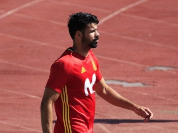 Diego Costa, en un entrenamiento de la selección española