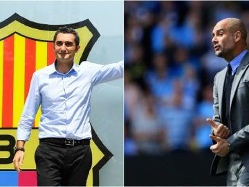 Ernesto Valverde y Pep Guardiola