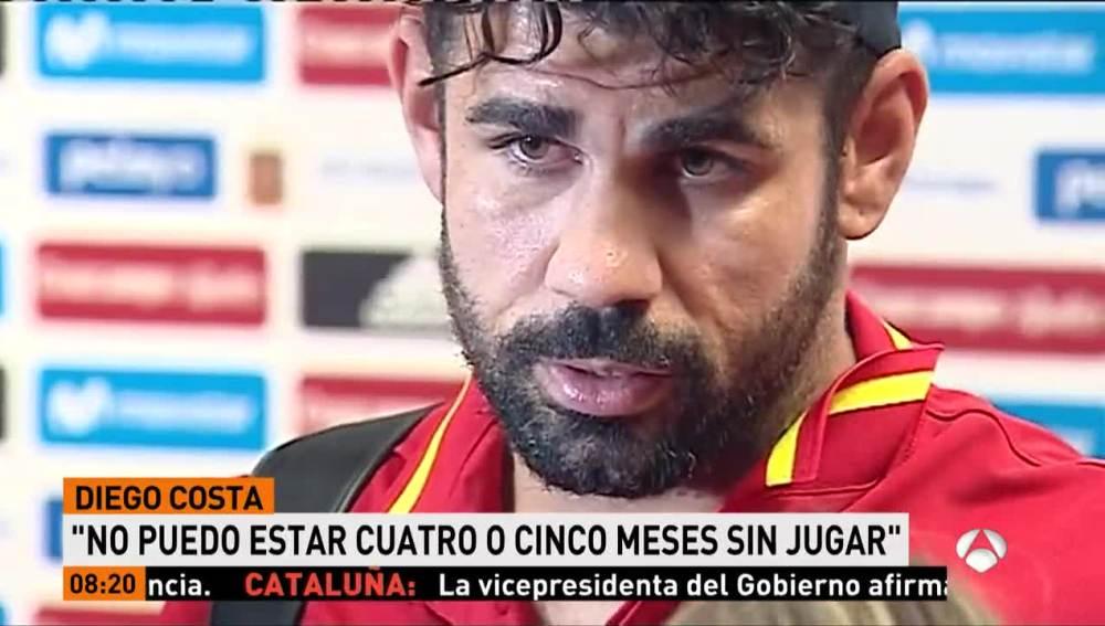 Diego Costa, en la zona mixta tras el España-Colombia