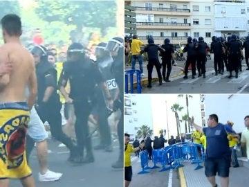 La policía carga contra aficionados del Cádiz