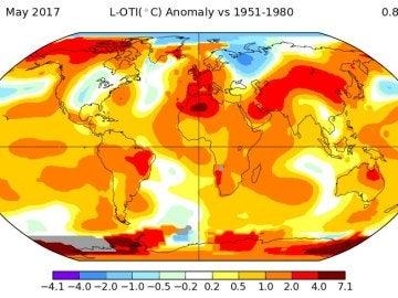 2017 anota el segundo mayo con más calor en el mundo desde 1880