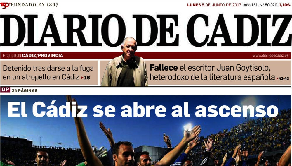 Portada de Diario de Cádiz
