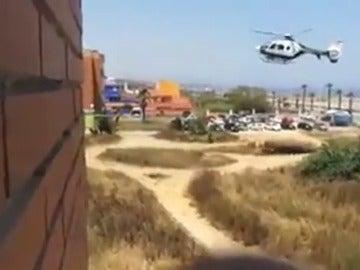 Persecución policial en helicóptero a un grupo de sospechosos de narcotráfico en La Línea de la Concepción