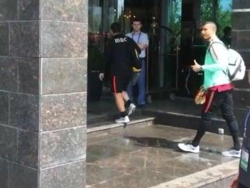 Cristiano Ronaldo, a su llegada al hotel de Portugal