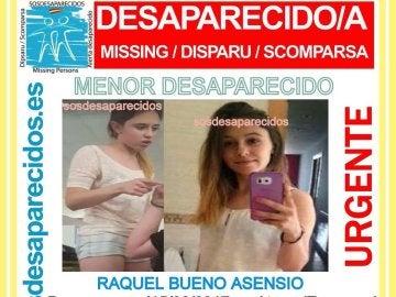 Cartel de búsqueda de Raquel Bueno, la joven de 16 años desaparecida en Ateca
