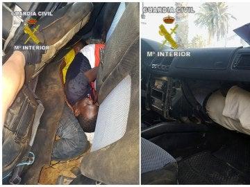 Fotografía facilitadas por la Guardia Civil, del vehículo con el que un conductor kamikaze con cinco inmigrantes