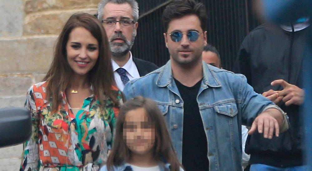 Paula Echevarría y David Bustamante antes de la comunión de su hija Daniella