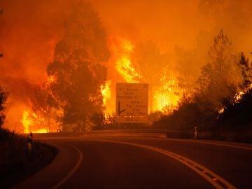 Las llamas toman altura durante un incendio forestal en Pedrogao Grande