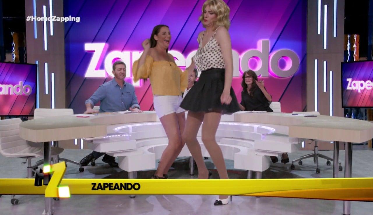 Cristina Pedroche y Anna Simon bailan 'La Gozadera' en 'Zapeando'