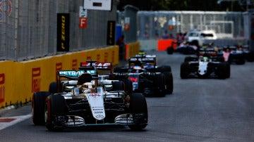 Hamilton, durante el GP de Azerbaiyán de 2016