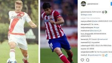 Imagen colgada por Gianluca Simeone en Instagram junto a Diego Costa