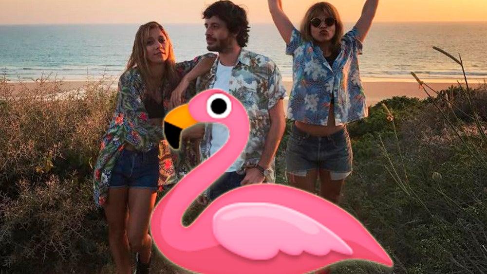 Los actores de 'Amar es para siempre' se suman a la moda del flamenco rosa