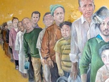 Líderes mundiales vistos como si fuera refugiados