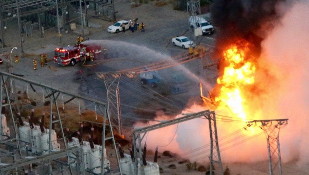 Incendio en una estación eléctrica