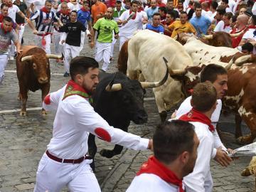 Los toros de la ganadería de Jandilla, de Mérida (Badajoz) enfilan el ultimo tramo del encierro