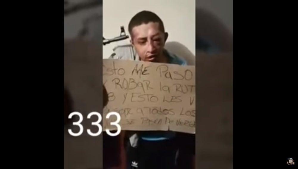 Ladrón golpeado en México