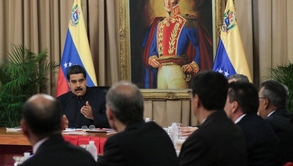 El Presidente de Venezuela, Nicolás Maduro, durante la activación del Consejo de Defensa de la Nación