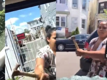 Golpea el coche de su marido con un martillo