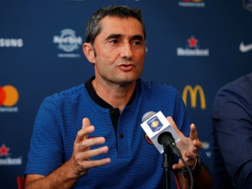 Ernesto Valverde, en rueda de prensa en New Jersey