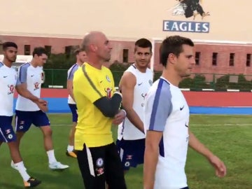 Álvaro Morata, con Willy Caballero y Azpilicueta
