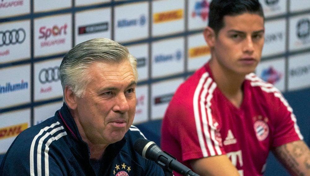 Ancelotti y James en rueda de prensa