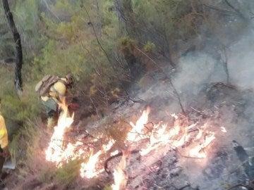 Bomberos intentan sofocar el incendio en Jaén