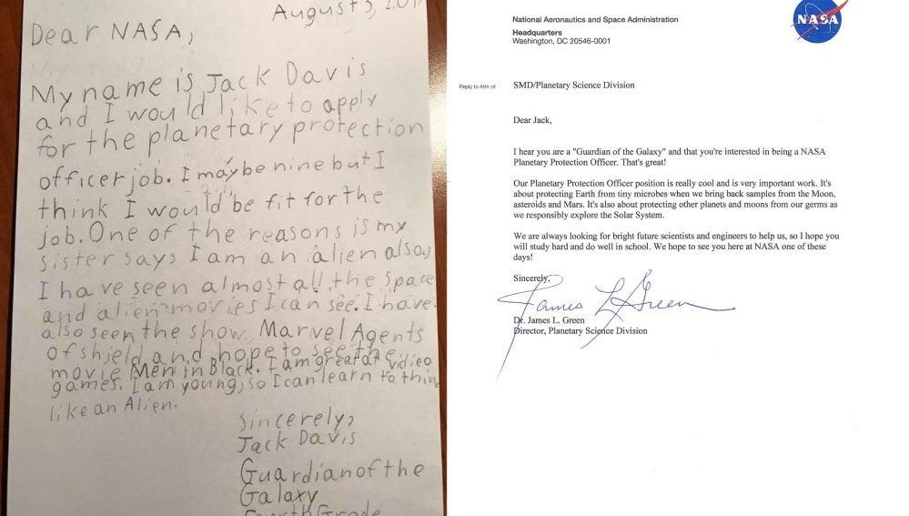 Carta del joven Jack Davis, de 9 años, a la NASA