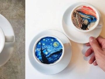 El barista se atreve con la 'Noche estrellada' de Van Gogh y 'El grito' de Munch