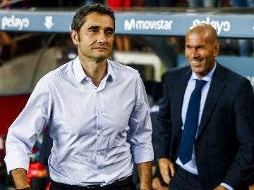 Valverde, en el Camp Nou tras saludar a Zidane
