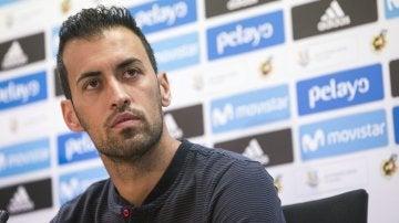 Sergio Busquets, en rueda de prensa