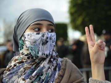 Manifestantes en favor de los saharauis