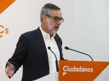 El secretario general de Ciudadanos (Cs), José Manuel Villegas, durante una rueda de prensa en la sede de su formación