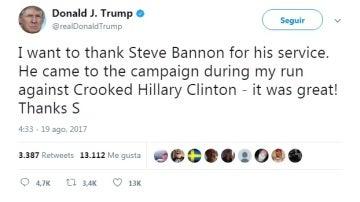 Tuit de Trump en el que agradece a Bannon y descalifica a Hillary Clinton