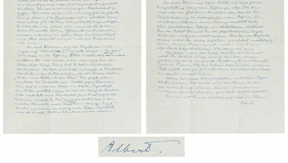 Carta de 1938 dirigida a su amigo Michele Besso en la que carga contra el primer ministro inglés, Neville Chamberlain, por firmar los acuerdos de Múnich