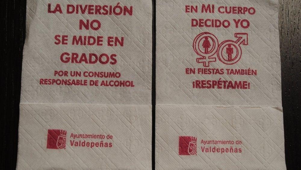 Las servilletas que se distribuirán