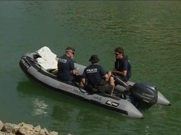 Efectivos policiales en la búsqueda en Susqueda