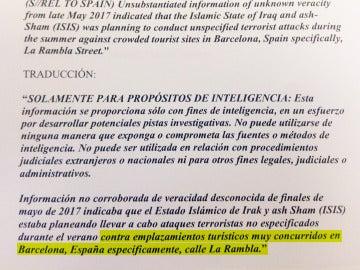 Texto enviado por la CIA a los Mossos d'Esquadra