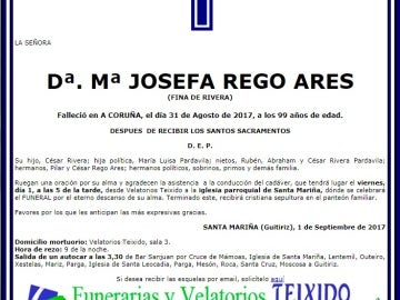 Esquela de Josefa Rego