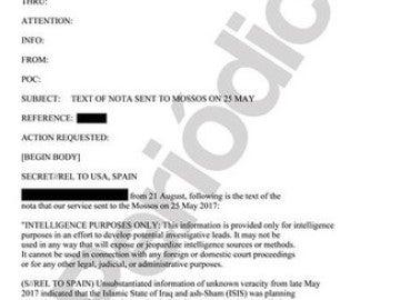 Nota original de los servicios de inteligencia estadounidenses recibida por los Mossos