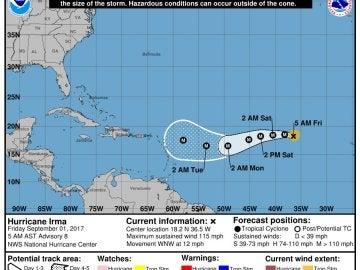 El huracán 'Irma' se aproxima a tierra en el Atlántico