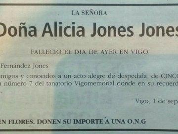 Esquela en la que se pide despedir a una vecina de Vigo con vino y tortilla