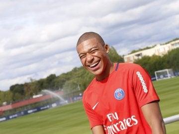 Mbappé en un entrenamiento del PSG