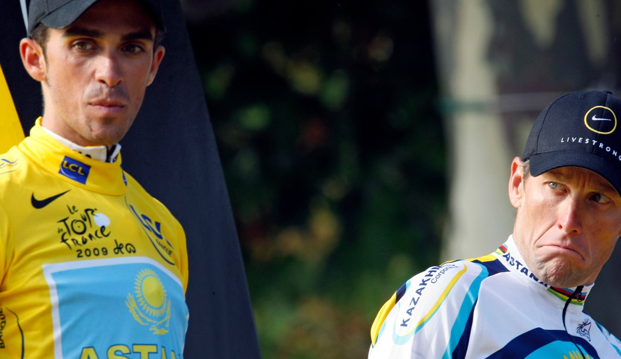 Lance Armstrong y Contador en el Tour de 2009