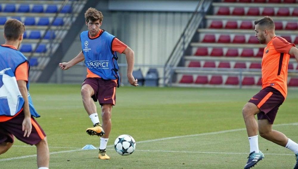 Sergi Roberto en el entrenamiento del Barcelona